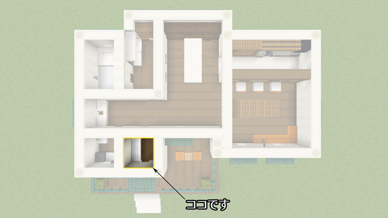 骨ブロックで作るおしゃれな家の間取り・玄関