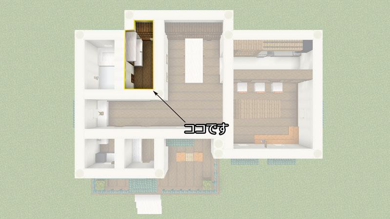 骨ブロックで作るおしゃれな家の間取り・パウダールーム