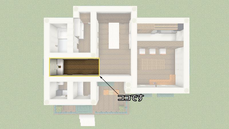骨ブロックで作るおしゃれな家の間取り・1階廊下