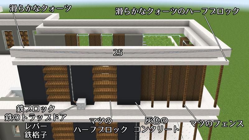 豪華なモダンハウスの2階裏側外壁の作り方2