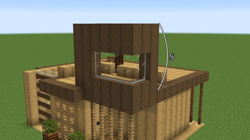 木の温もりがあるモダンな家の2階玄関上の外壁の作り方