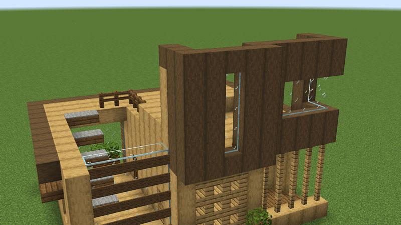 木の温もりがあるモダンな家の2階正面の外壁の作り方1