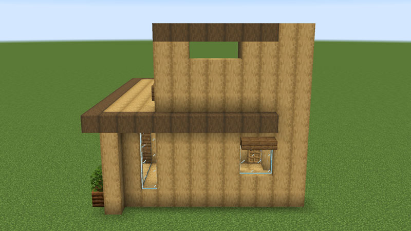 木の温もりがあるモダンな家の2階左側の外壁の作り方1