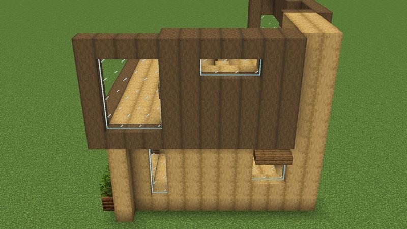 木の温もりがあるモダンな家の2階左側の外壁の作り方2