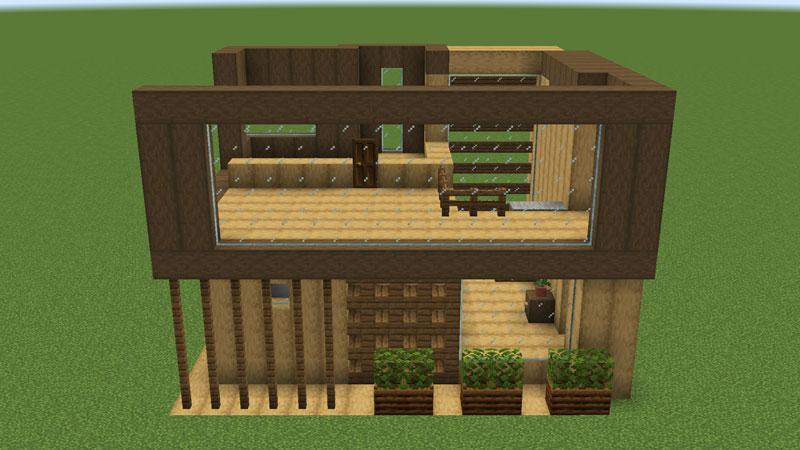木の温もりがあるモダンな家の2階裏側の外壁の作り方