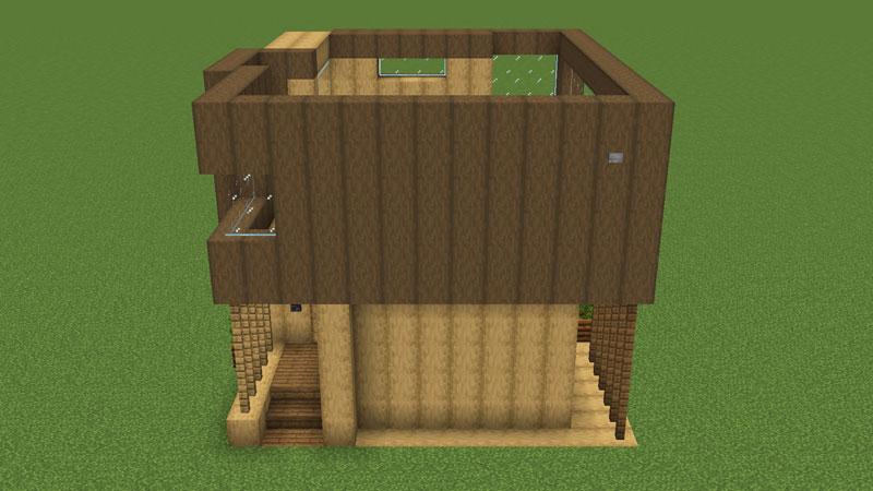 木の温もりがあるモダンな家の2階右側の外壁の作り方