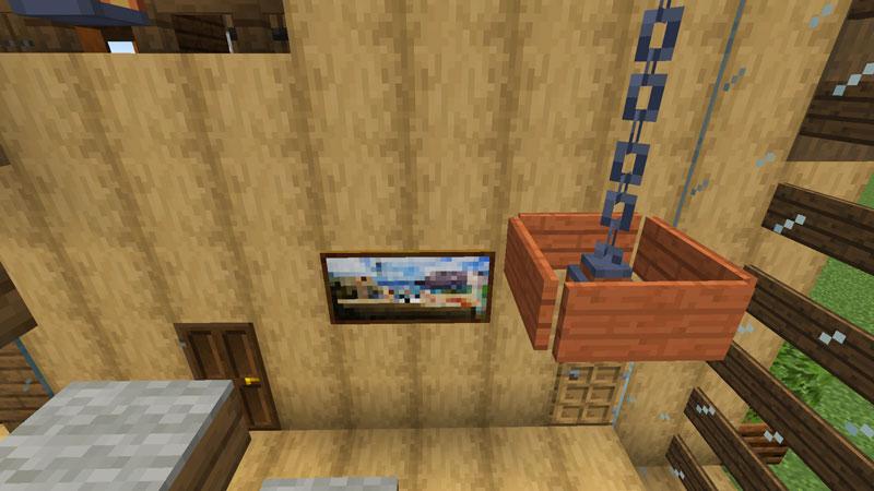 木の温もりがあるモダンな家の階段の絵画