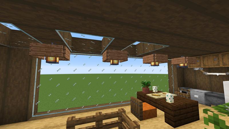 木の温もりがあるモダンな家のキッチン・ダイニングの照明
