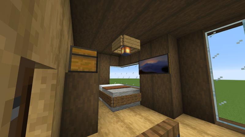 木の温もりがあるモダンな家の寝室の照明