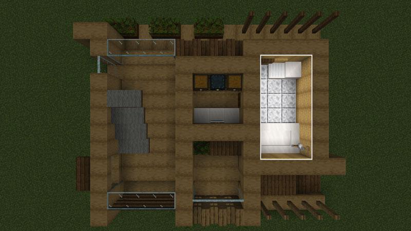 木の温もりがあるモダンな家の間取り:バス・トイレ