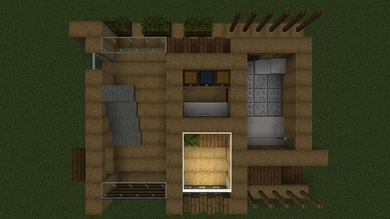 木の温もりがあるモダンな家の1階間取り:玄関