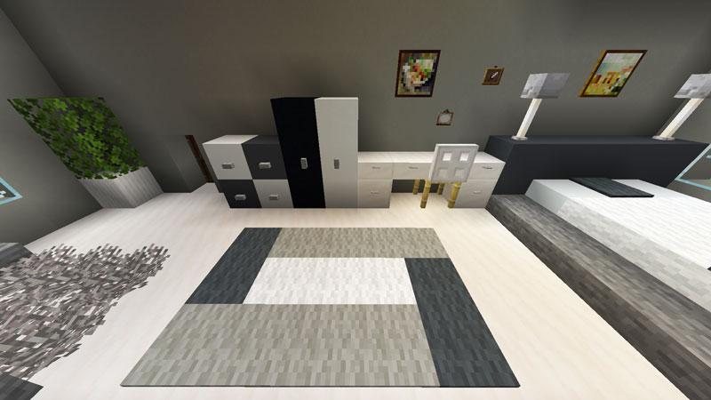 豪華なモダンハウスのベッドルーム1の収納と机の作り方