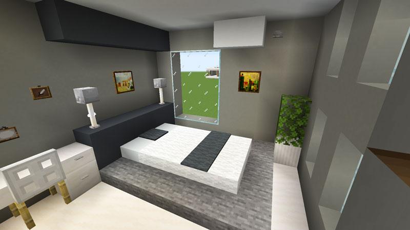 豪華なモダンハウスのベッドルーム1のベッドの作り方
