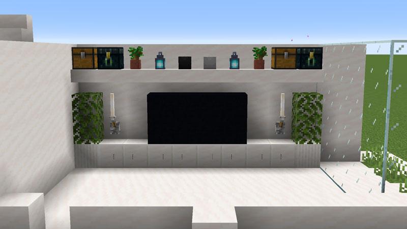 ハーフブロックでおしゃれに魅せるモダンハウスのリビングルームのテレビの作り方
