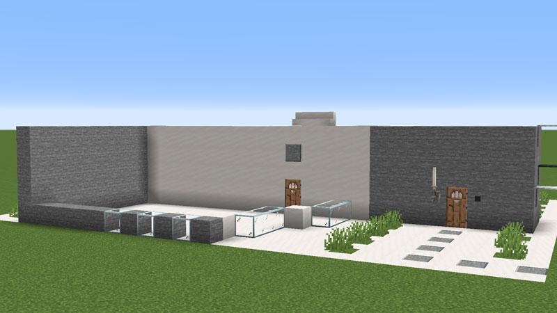 ハーフブロックでおしゃれに魅せるモダンハウスの玄関をキッチンの壁の作り方