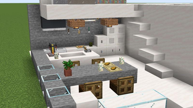 ハーフブロックでおしゃれに魅せるモダンハウスのキッチンの証明とダイニングテーブルの作り方
