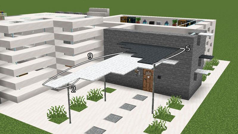 ハーフブロックでおしゃれに魅せるモダンハウスの玄関前屋根の作り方