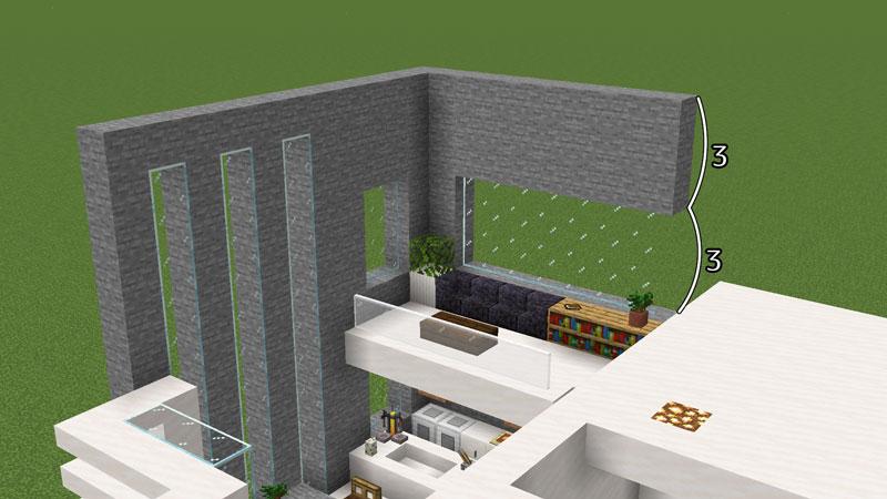 ハーフブロックでおしゃれに魅せるモダンハウスの2階キッチンの壁の作り方