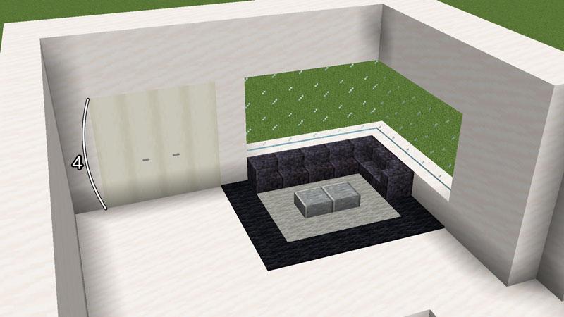 ハーフブロックでおしゃれに魅せるモダンハウスの2階ベッドルームの収納とソファーの作り方