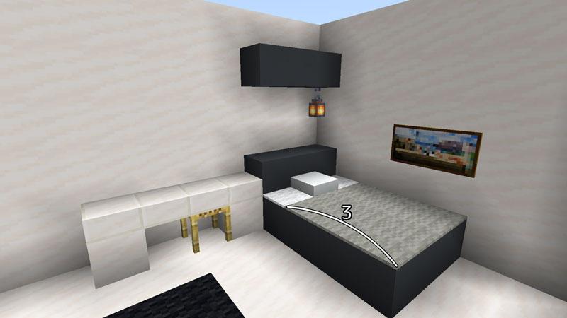 ハーフブロックでおしゃれに魅せるモダンハウスの2階ベッドルーム2のベッドの作り方