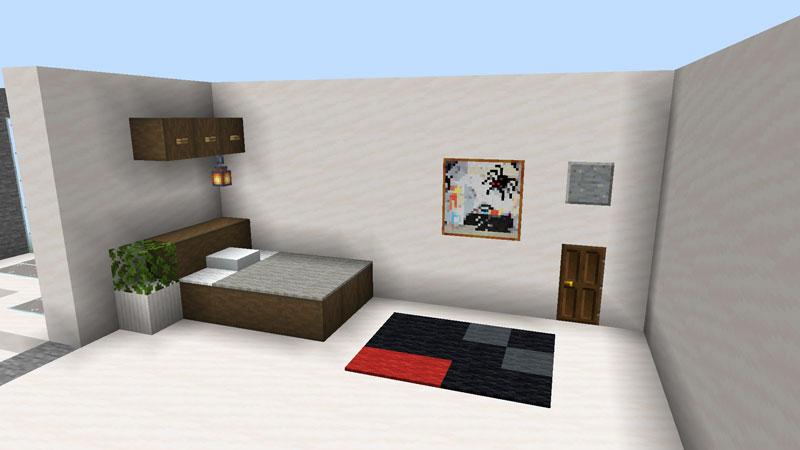 ハーフブロックでおしゃれに魅せるモダンハウスの2階ベッドルーム1のベッドとカーペットの作り方