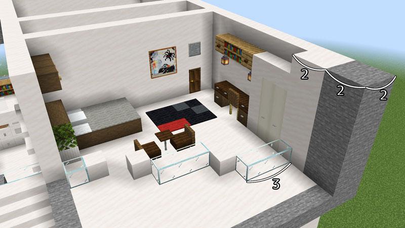 ハーフブロックでおしゃれに魅せるモダンハウスの2階ベッドルーム1の壁の作り方