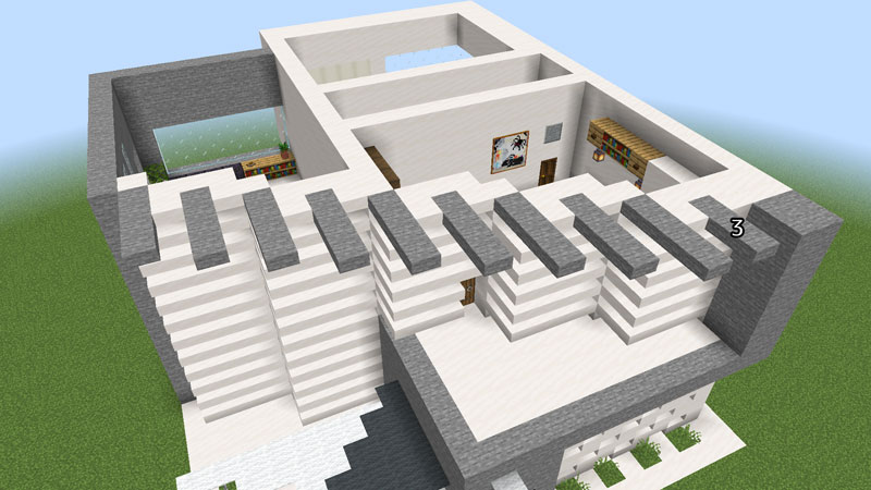ハーフブロックでおしゃれに魅せるモダンハウスの2階正面の外壁の飾り方2