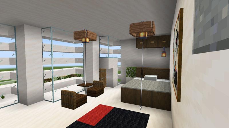 ハーフブロックでおしゃれに魅せるモダンハウスのベッドルーム1の照明の作り方
