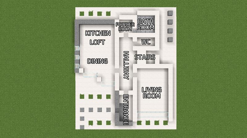 ハーフブロックでおしゃれに魅せるモダンハウスの間取り詳細