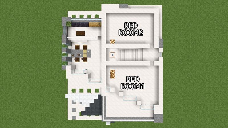 ハーフブロックでおしゃれに魅せるモダンハウスの2階間取り
